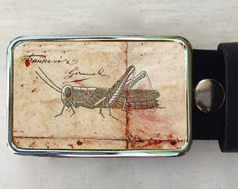 Grasshopper Mens Belt Buckle.  Womens gifts too.  Insect Belt Buckle.  Mens birthday gift.