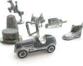 Monopoly Metal Tokens Assortment of 8 Vintage Markers IRON SCOTTIE THIMBLE Hat Shoe Race Car Wheelbarrow Horse Rider