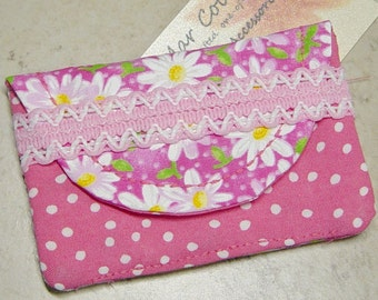 Business Card Case, Pink Fabric Envelope Purse, Daisy Fabric Case, Business Card Wallet, Pink Polka Dot,Cottage Chic, Credit Card Case