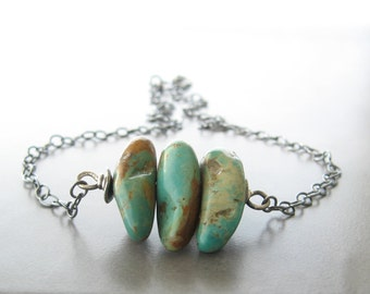 rustic turquoise necklace, green stone necklace, oxidized silver necklace, southwest turquoise necklace, boho turquoise necklace