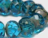 Czech Glass Rondells 7 mm  Capri Blue 722