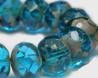 Czech Glass Rondells 7 mm  Capri Blue 722