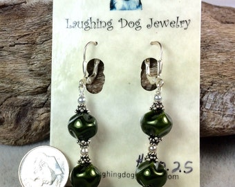 Dark Green Glass Pearl and Sterling Silver Earrings
