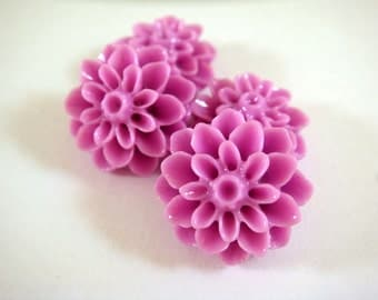 SALE - 10 Orchid Cabochon Flowers Beads Resin Purple Dahlia Bead 15mm Flat Back - No Holes - 4 pc - CA2016-OR10