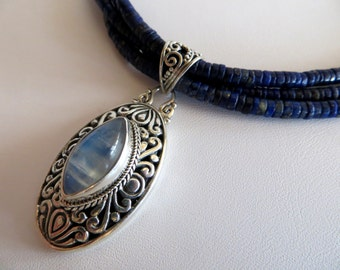 Lapis Lazuli Necklace With Moonstone & Sterling Pendant