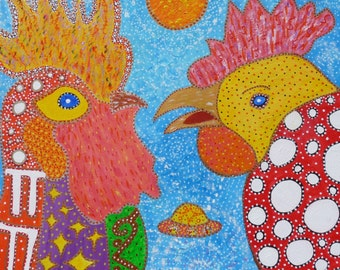 Magic chicken meets majestic rooster 8x8 signed Giclee print on canvas folk art intuitive art for kitchen, child's room, intuitive  art