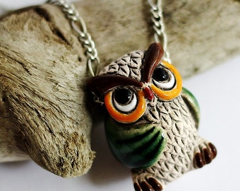 Cute Owl Necklace, Owl Jewelry, Owl Charm, Colorful Owl Pendant, Wise Old Owl Necklace, Bird Necklace, Ceramic Animal Charm by Hendywood