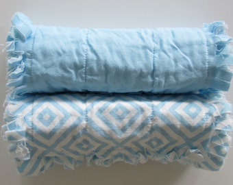 Baby Boy Burp Cloths, Baby Gift Set,  Flannel Rag Quilt