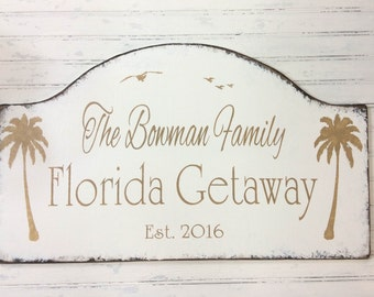 Florida getaway, retirement vacation home, snowbird getaway, beach wall decor, lse sign, custom cottage personalized sign, vacation condo