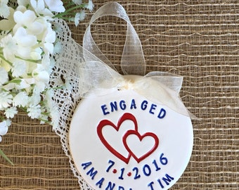 Engagement Ornament with Double Hearts -  Personalized, Engagement Gift for Couple,Interlocking Hearts Ceramic Ornament, Dated Ornament