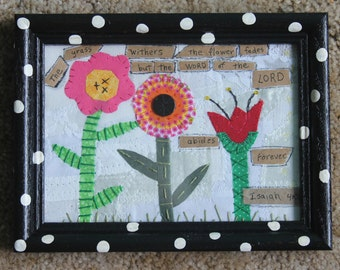 Mini Framed Flower Quilt Black and White Polka Dot Inspirational Scripture Bible Isaiah Embroidery