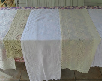linen and lace table runner lot . lot of 6 . 6 white and cream table runners . table runner.