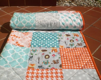 Woodland Baby quilt patchwork crib quilt,baby boy bedding,baby girl quilt,rustic,teal,aqua grey,orange,fox,owl,dot,chevron,toddler,Critters