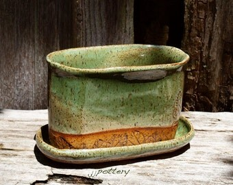 Planter, Handmade planter,  Pottery planter, Stoneware container, herb container, pot for planting, Indoor planter