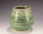 Pottery Vase - Crackle Sodium Silicate in Green