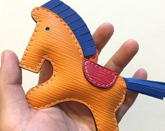 Big size - Beon the Epi leather horse charm ( Orange epi with dark blue cowhide mane/tail )