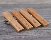 Wedding tie clip gift set crafted from Pennsylvania Cherry Wood - Engraved for Free!