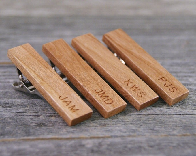 Groomsmen tie clip gift set crafted from Pennsylvania Cherry Wood - Engraved for Free!