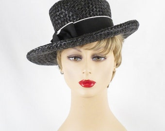 Vintage Hat Black Straw Wide Brim Asymmetrical Sz 21 1/2