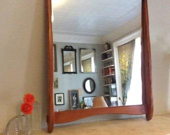Vintage Mid Century Modern Wood Wall Mirror