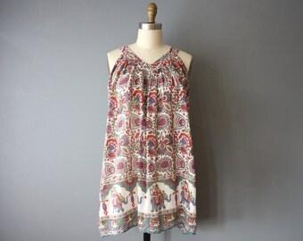 vintage hippie mini dress / 90s tent dress / light cotton indian dress