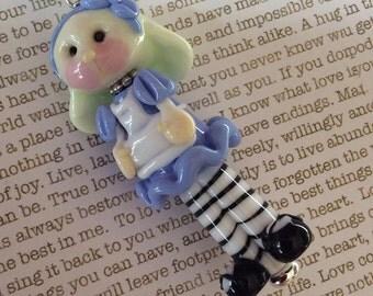 Adorable Alice in Wonderland Handmade Glass Lampwork Pendant OOAK