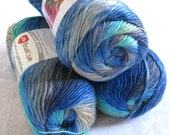 Boutique Unforgettable REGATTA,  royal blue, turquoise, grey, variegated worsted weight, Red Heart yarn