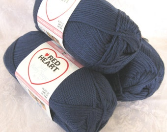 NAVY blue worsted weight yarn, Red Heart Soft  yarn, Baby Steps