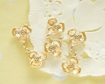 6 pcs Gold Violet Flower Charm (10mm) AZ204 (((LAST)))