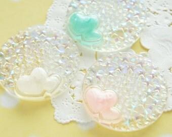 6 pcs Pastel Heart AB Clear Round Cabochon (38mm) DR553 (((LAST)))