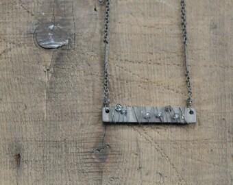 Grey Diamond Bead Bar Necklace