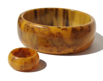 Vintage Bakelite Demi Parure Bangle Bracelet & Ring Mississippi Mud Art Deco Set
