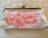 Clear Vinyl Clutch Purse Handbag Pink Flowers Pearls