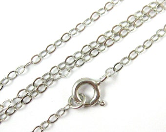 Sterling Silver Necklace Rhodium Plated-Sterling Silver Chain,Silver Chain Wholesale-Cable Flat Oval- 2.5 x 2mm-26 inches(1 pc) SKU:601022RH