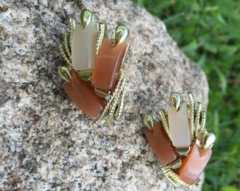 Vintage Stamped Coro Autumn Shades of Brown & Copper Earrings with Gold Tone Setting Clip On