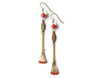 Art Deco Style Earrings - Red Earrings - Fan Earrings - Scarlet Red - Geometric Earrings - Vintage Jewelry - Salto Earrings (SD1070)