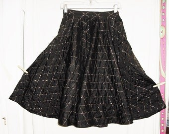 Vintage 50s Black Quilted Satin Full Circle Skirt 26 Handmade Gold Thread