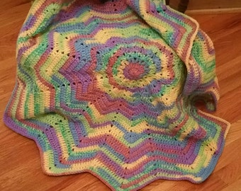 Cochet Star Baby Afghan in Rainbow Colors