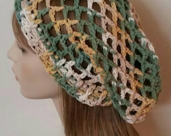 Cotton Mesh Slouchy Beanie Dread Crochet Hat in Sage Garden