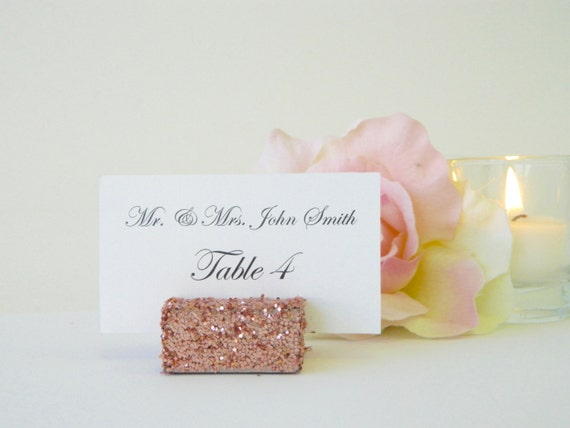 Place Card Holders + Rose Gold Glitter Place Card Holders + Rose Gold Glitter Wedding escort card holder (Set of 100)