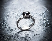 BLACK DAHLIA silver and onyx ring