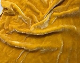 Golden Yellow HAND DYED Silk Velvet Fabric fat 1/4