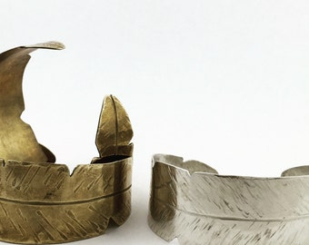 Sterling Silver Brass Banana Leaf Cuff Bracelet by Maribelle Campa Unique