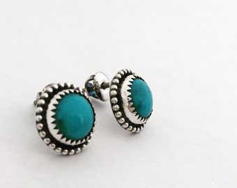 READY TO SHIP Handmade Nacozari Turquoise Sterling Silver Studs Post Earrings 8mm