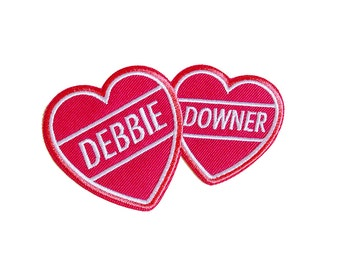 debbie downer hearts   Iron on embroidered patch