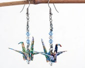 Origami Jewelry Gifts for Her,Blue Paper Earrings,Handmade Paper Jewellery,Origami Art Jewelry,Anniversary Gifts,Origami Birthday Present