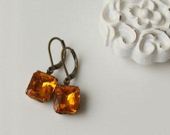 Golden Topaz Earrings / Rhinestone Earrings / Vintage Glass Rhinestone Jewelry / Hollywood Glam / November Birthstone Earrings