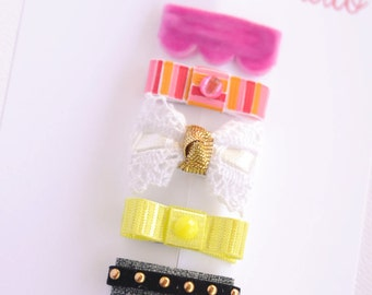 newborn baby girls bitty hair clips collection - bright ribbon snap clips set, baby hair clips