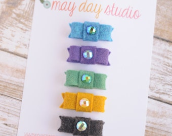 newborn baby girls bitty hair clips collection - jewel tone felt snap clips set, blue purple green mustard charcoal baby hair clips