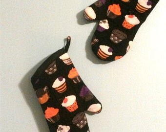 Unique handmade Oven Mitts with Goth Cupcakes fabric